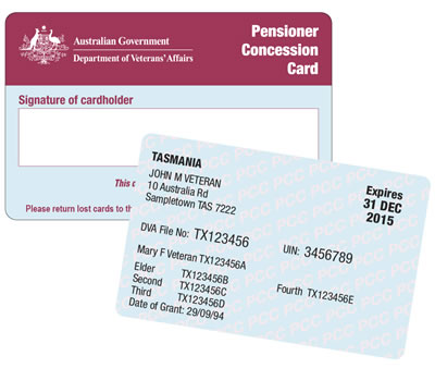 Department of Veterans Affairs Pensioner Concession Card