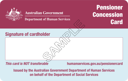 Pensioner Concession Card (Back)