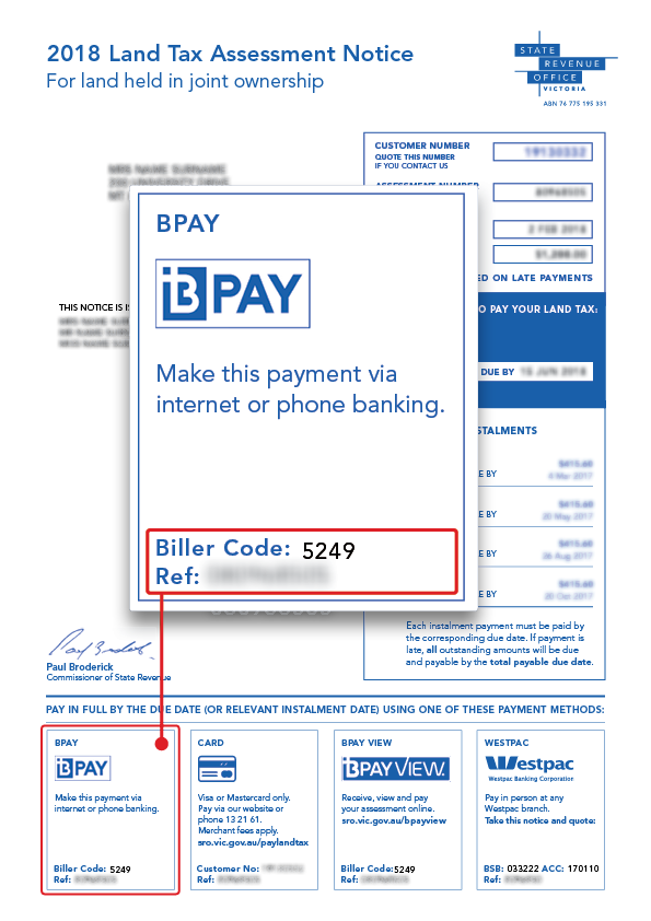 Location of BPAY payment details on your tax assessment notice