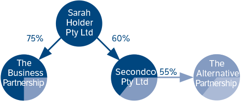 Diagram to illustrate the relationship between Sarah Holder Pty Ltd and other companies